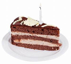 Piece of chocolate cake with burning candle on plate ...