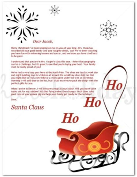 printable red sleigh santa letter template