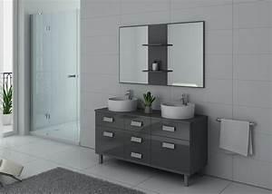Meuble De Salle De Bain Gris : meuble de salle de bain 140 cm double vasque sur pied dis911gt gris taupe ~ Preciouscoupons.com Idées de Décoration