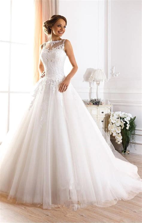 cheap beautiful wedding dresses custom made vestidos de novia a line illusion neckline backless bridal gown lace wedding