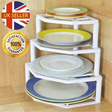 tier corner plate organiser rack white strong plastic holder storage solution ebay