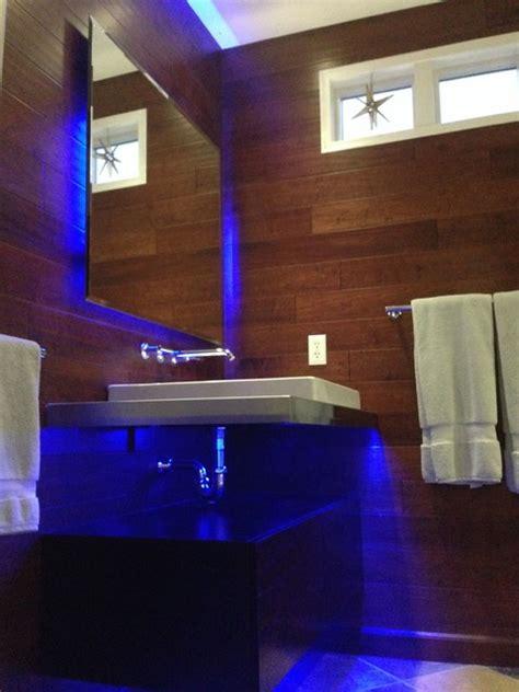 led lights behind bathroom mirror led bathroom lighting modern bathroom st louis by