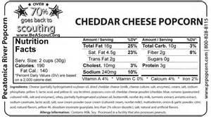 kraft cheddar cheese nutrition label