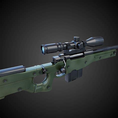 AWM Sniper Rifle Hi-Res 3D Model .max .obj .fbx .lwo .lw