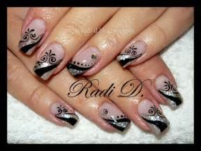 Black and silver nail design fashionable