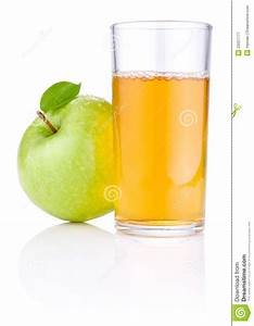 Glass Of Apple Juice, Green Apples With Leaves Royalty ...