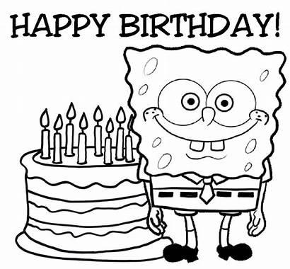 Spongebob Coloring Pages Birthday Squarepants Animated Happy