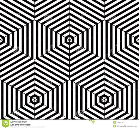 Coloring Vector Infinite Design by Black And White Illusive Abstract Geometric Seamless 3d