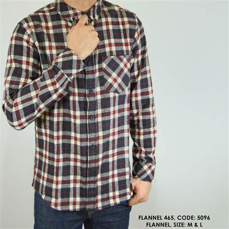 jual baju pria trend masa kini kemeja panjang kerja kantor cowok flannel flanel panel kotak