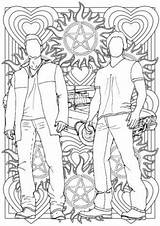 Supernatural Sam Dean Colouring Winchester Coloring Pages Grown Ups Drawings Etsy Sheets Adult Mandala Drawing Colour Tv Books Painting Lines sketch template