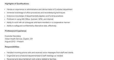 H M Resume by Resume Sles Custodial Resume Sle