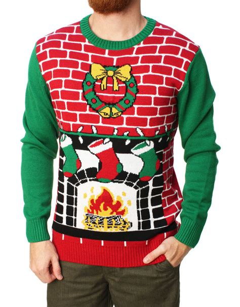 ugly light up christmas sweaters ugly christmas sweater men 39 s fireplace is lit light up