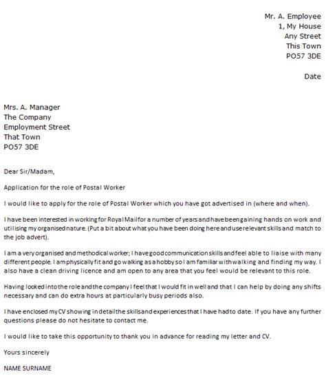 postal delivery worker cover letter  icoverorguk
