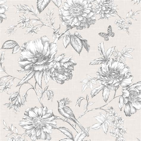 menagerie cream white floral embossed wallpaper