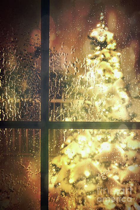 icy window with tree of lights photograph by