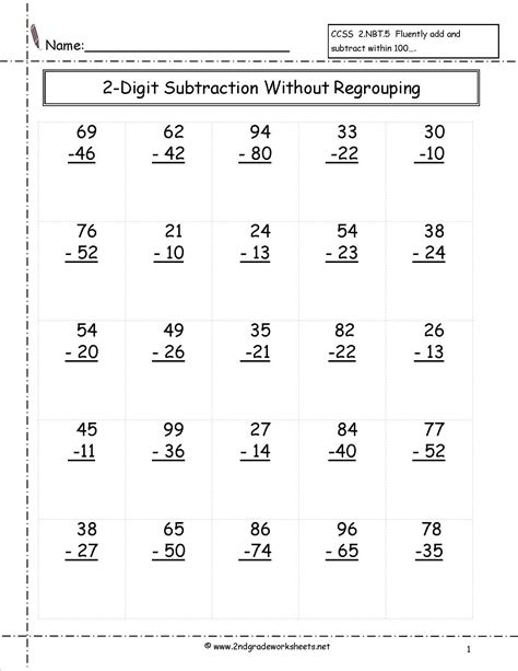 2nd grade math worksheet subtraction with borrowing two digit subtraction without regrouping worksheet