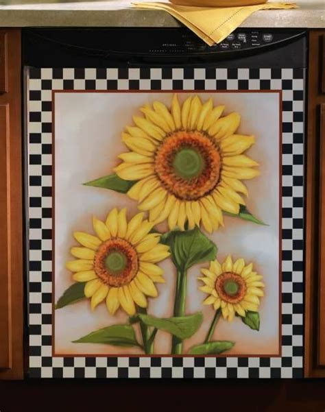 country sunflower kitchen decor country yellow sunflower kitchen dishwasher magnet 6234