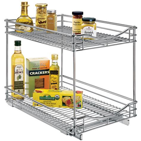 kitchen cabinet sliding organizers two tier sliding cabinet organizer 14 inch in pull out 5779