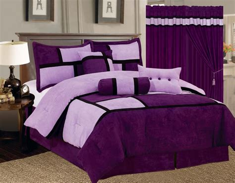 15-pc Comforter Curtain Set Purple Micro Suede Queen And