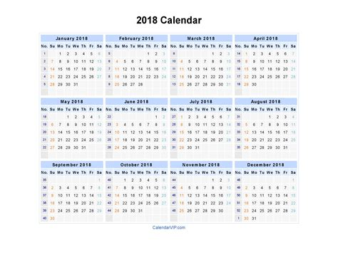 2015 Calendar Template With Holidays Printable Calendar 2018 7 Best Images Of 2018 Yearly Calendar Free Printable
