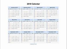 2018 Calendar One Page – templates free printable