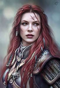 Female warrior / knight with red hair and scars RPG ...