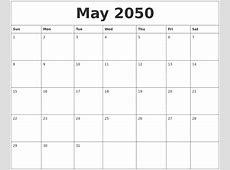 May 2050 Free Printable Blank Calendar