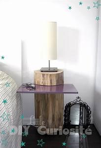 Table de chevet Tronc d'arbre & plaque de verre, récup', DIY Déco bois très nature