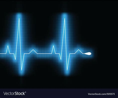Heartbeat glow on a black monitor eps 8 Royalty Free Vector