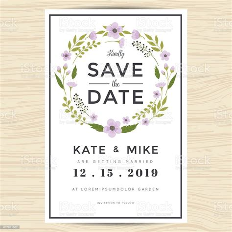 Save The Date Wedding Invitation Card Template With Wreath