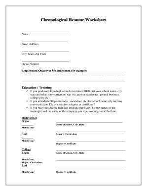 21 Printable Chronological Resume Template Forms - Fillable Samples in PDF, Word to Download