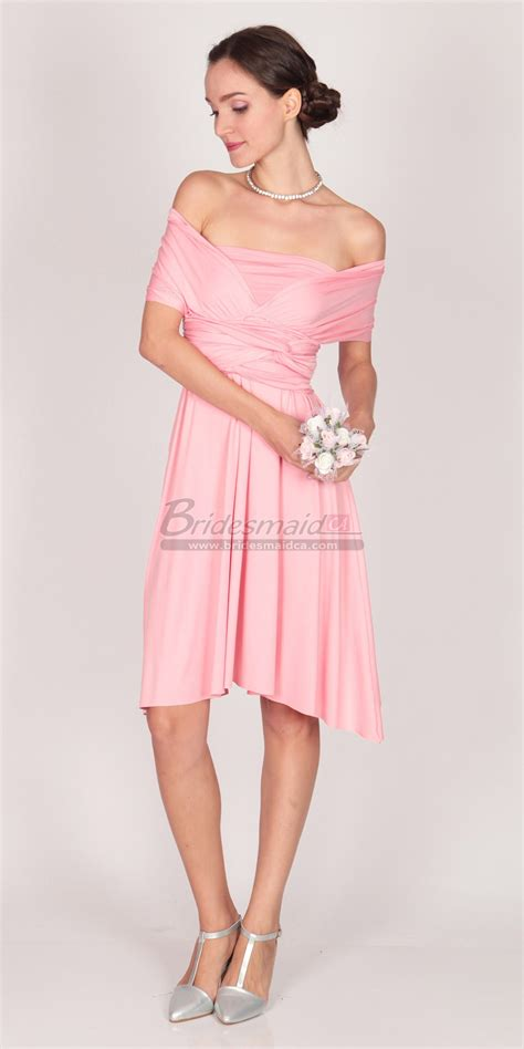turquoise and orange area satin chiffon pink knee length bridesmaid dress with