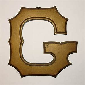 sign letter g alphabet gilt wood early 20th century With gold letter sign
