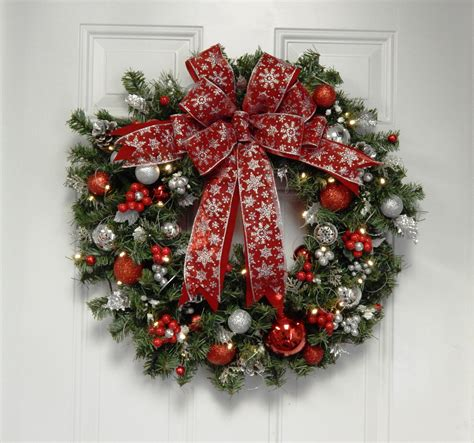 chistmas wreath wreath snow flake artificial lighted