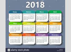 Calendar 2018 year vector design template in Spanish Stock