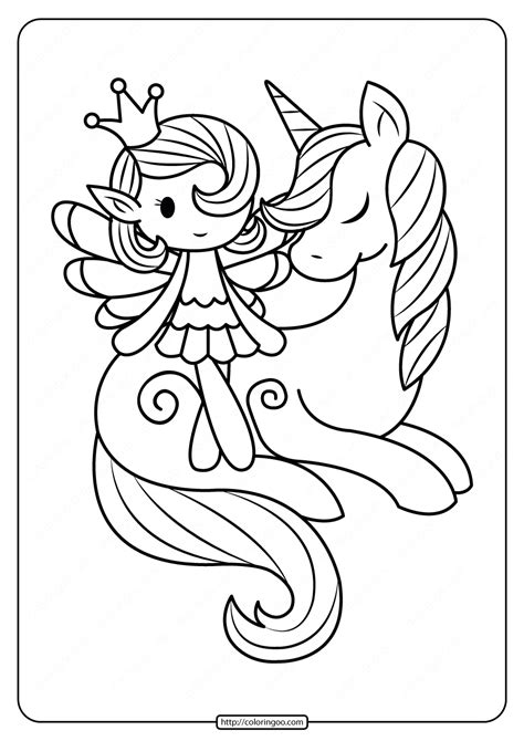 printable fairy  unicorn coloring pages