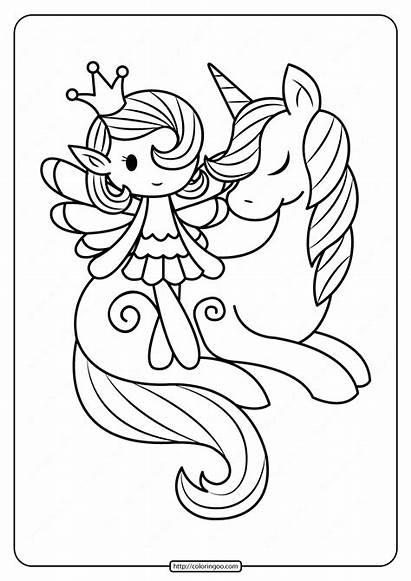 Unicorn Coloring Fairy Printable Sleeping Fantasy Colors