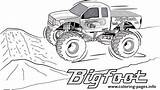 Monster Coloring Truck Bigfoot Pages Printable Print sketch template