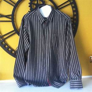 ATELIER MENS DRESS SHIRT SIZE XL Brown With Blue Strips ...