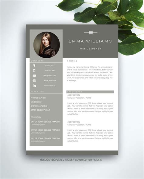 resume template  page cv template cover letter