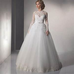 2017 modest long sleeve arabic wedding dresses a line lace With long sleeve modest wedding dresses