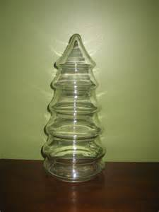 christmas tree shaped clear glass jar by vintagewares on etsy