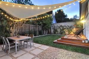 backyard shade sail west hollywood back yard redwood platform deck gravel square paver patio sail shade string