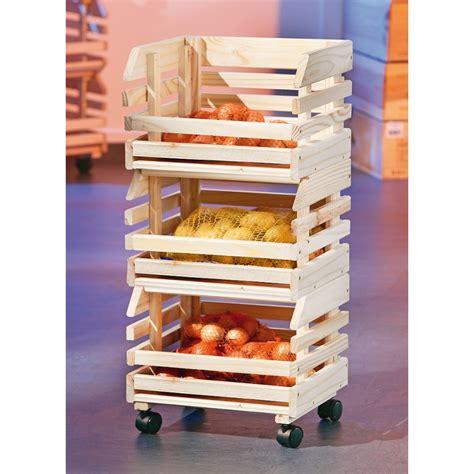 meuble a legumes pour cuisine caisses à fruits sur roulettes rangement en bois massif