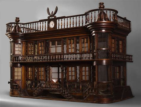 antique bird cage in the shape of a miniature castle late 19th century doors