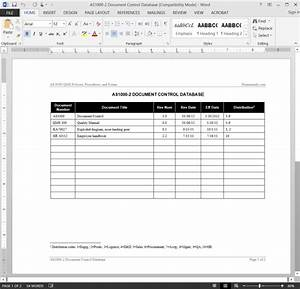 as9100 document control database template With document control database template