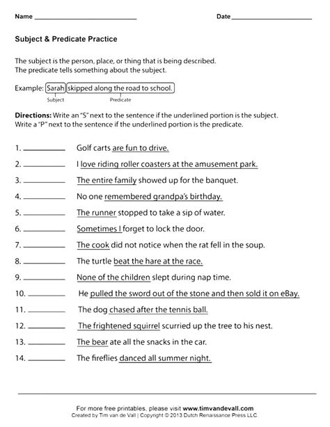 high school grammar worksheets predicate high best free