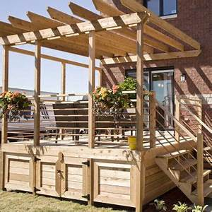 terrasse balustrade bois horizontal deck horizontal With amenagement terrasse et jardin 12 decoration escalier noel