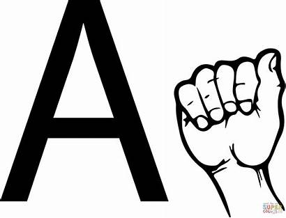 Asl Language Sign Letter Coloring Pages Printable