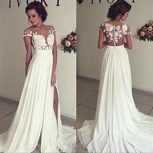 sexy a line split side sheer neck long wedding dress With wedding dress with split